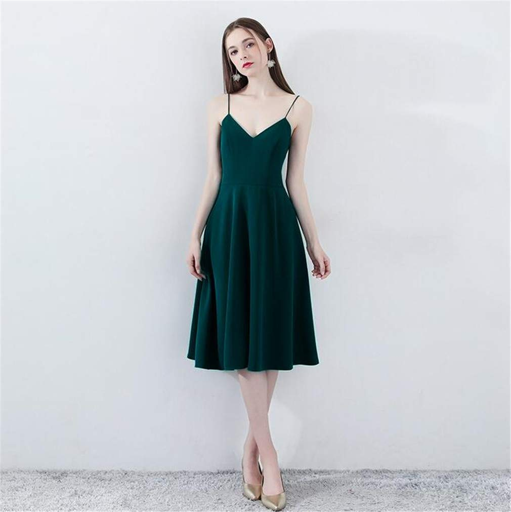 Small Evening Dress, Women Sexy Formal Gown Sling Dresses Backless Deep VNeck Dark Green Birthday Party