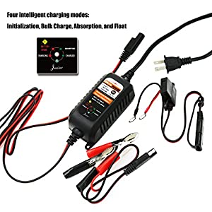 MOTOPOWER MP00205A 12V 800mA Fully Automatic Battery Charger/Maintainer for Cars, Motorcycles, ATVs, RVs, Powersports, Boat and More. Rescue and Recover Batteries