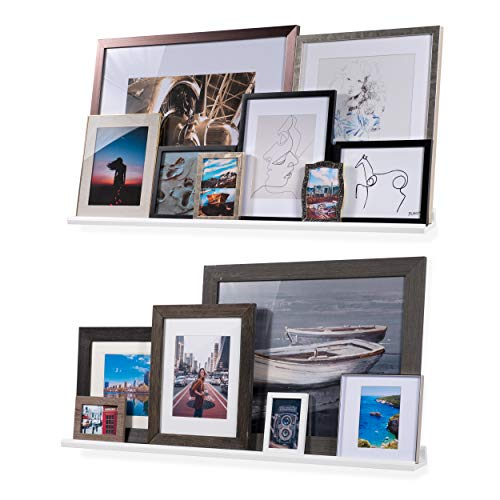 Wallniture Boston Contemporary Floating Wall Shelf - Picture Ledge for Frames Book Display White 46 Inch Set of 2 ()