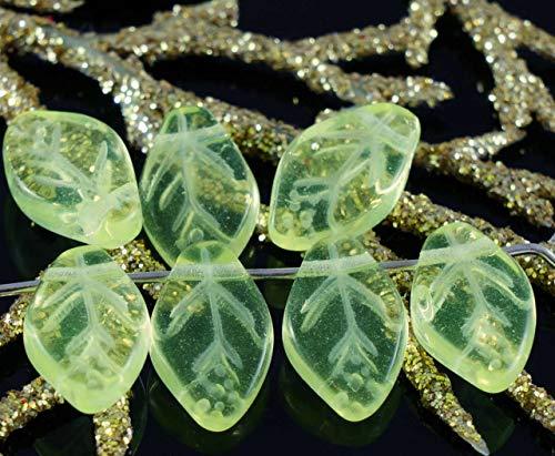 (Clear Lemon Yellow Czech Glass Flat Leaf Beads 12mm x 7mm 22pcs)