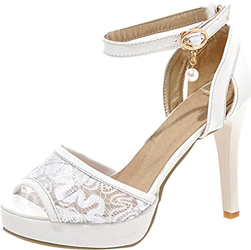 Calaier Women Salbj Open-Toe 10.5CM Stiletto Buckle Sandals Shoes White R2IMA