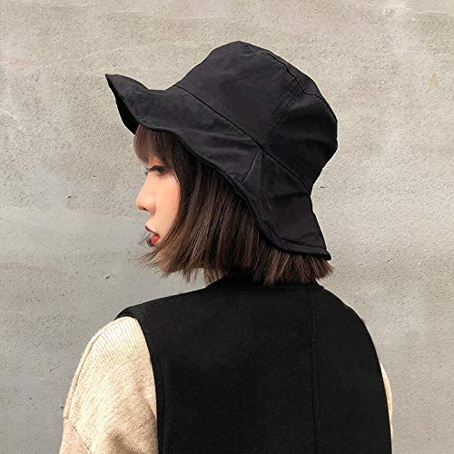 (JINGB-hat Foldable Ruffle Fisherman hat Female Autumn Breathable Sunshade Wire Witch hat Cap Wild hat Tide (Color : Black))