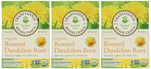 Traditional Medicinals Organic Roasted Dandelion Root, 16-Count Boxes (Pack of 3) (Large Dandelion)