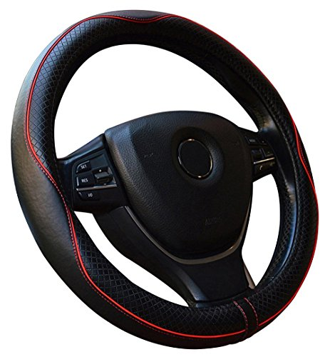 Car Steering Wheel Cover Genuine Leather Universal 15 Inch - Red Stitching is Subtle and Nice for Car/Truck/Van/SUV (Black&Red) ()