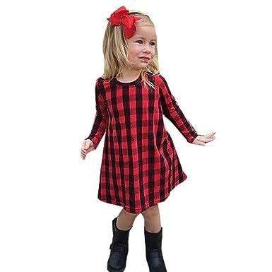 ba3485dd3938 Deloito Toddler Infant Kids Baby Girls Plaid Print Dresses Tartan Dress  Royal Stewart Pleated Dress Princess Party Mini Dress Outfits Clothes:  Amazon.co.uk: ...