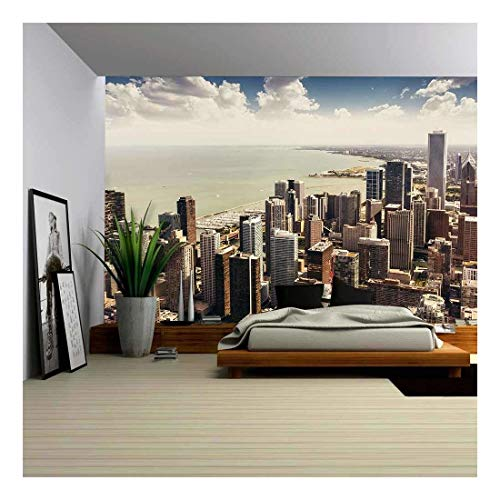 wall26 - Chicago, Illinois in The United States. City Skyline with Skyscrapers. - Removable Wall Mural | Self-Adhesive Large Wallpaper - 100x144 ()