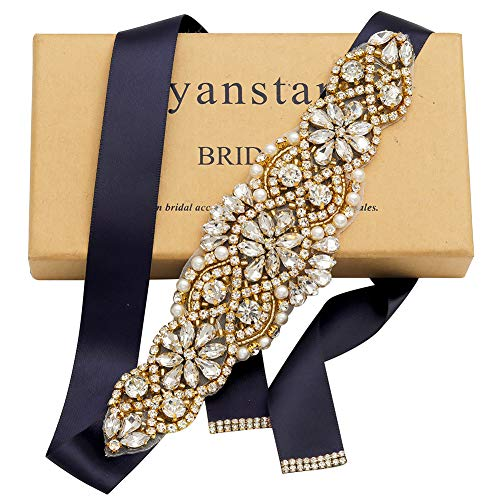 Yanstar Navy Blue Sash Crystal Applique Wedding Bridal Belts In Gold With Pearls Beaded On Wedding Prom Dress-7.7In2In