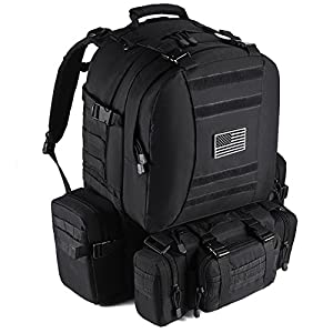 Tactical Backpack Military Outdoor 3-Day Assault Pack 60L Survival Rucksack 1000D Army Molle Bug Out Bag Perfect for Hiking Trekking Travelling and Hunting from Trekking King