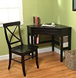 This classically styled desk utilizes a small space for a big impact, with stylish under-desk shelving and a drawer to hide clutter. Simple Living Wood Corner Computer Desk (Black + Chair)
