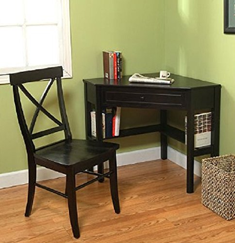 This classically styled desk utilizes a small space for a big impact, with stylish under-desk shelving and a drawer to hide clutter. Simple Living Wood Corner Computer Desk (Black + Chair) (Desk Student Small Black)