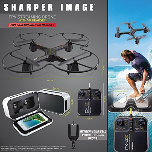 Sharper Image Fpv Vr Quadcopter Drone Dx 144 Inch Model With Live