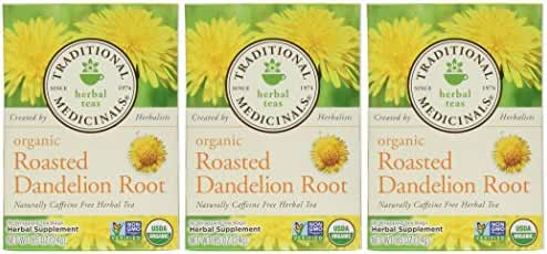 Traditional Medicinals Organic Roasted Dandelion Root, 16-Count Boxes (Pack of 3)