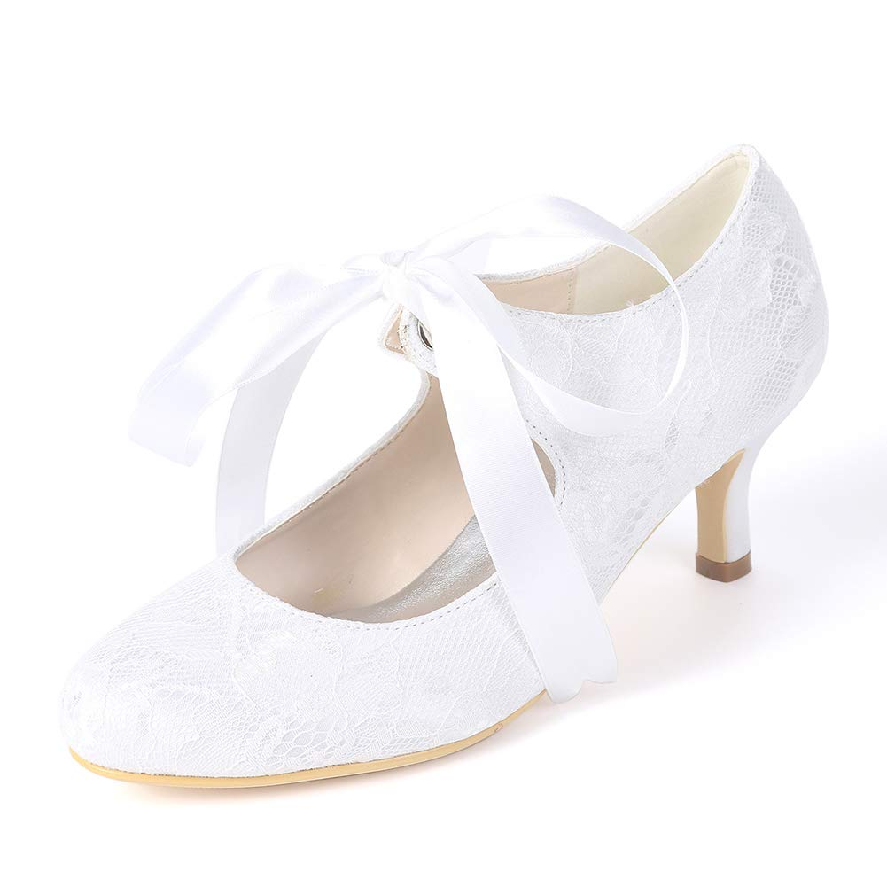 Moojm Schuhe damen, High Heels Round Toe 6cms Stiletto Silk Front Tie Wedding Party Daily  | Shopping Online