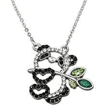 """DianaL Boutique Beautiful Design Panda Bear with Lucky Bamboo Pendant Necklace 17"""" Chain"""