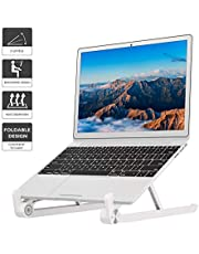 1home Foldable Portable Laptop Stand, Universal Lightweight Space-saving Adjustable Ergonomic Ventilated Desktop Laptop Holder Compatible with iMac/Notebook Computer/Tablet White