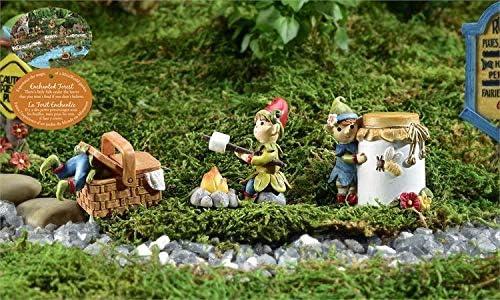 Giftcraft - Juego de 3 figuras de hadas de jardín con cenefas y mariscos, tarro de miel y cesta de picnic: Amazon.es: Jardín