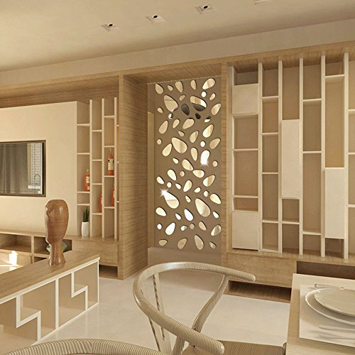 (EDTO 12Pcs 3D Mirror Vinyl Removable Wallpaper DIY Art Wall Sticker Decal Home Decor Art DIY)