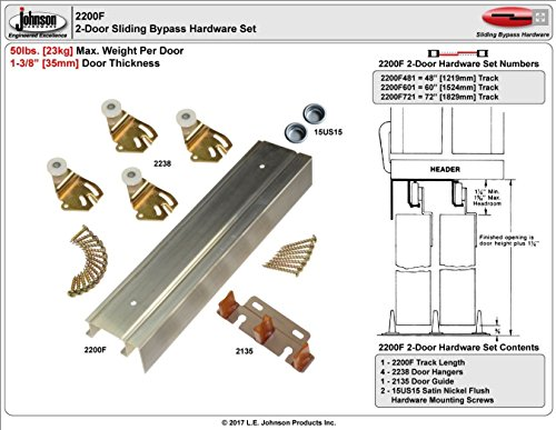 Johnson Hardware 2200F Twin Wheel Sliding Bypass Door Hardware 48