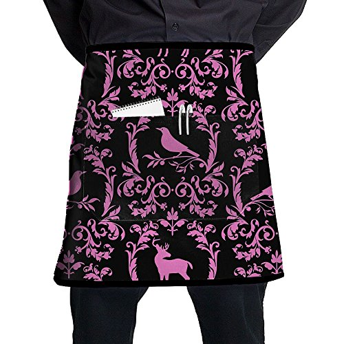 Kjiurhfyheuij Half Short Aprons Deer Bird Waist Apron With Pockets Kitchen Restaurant For Women Men Server -