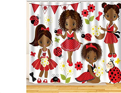 ArtRena Fabric Shower Curtain, Dark-Skinned, Black Girls with Lady Bugs, Waterproof and Mildew Resistant, 71