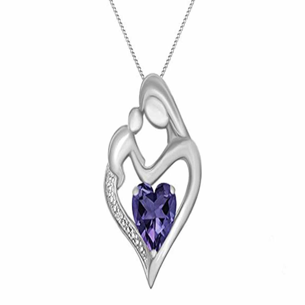 Silverraj Jewels Mom Child Heart Pendant Collection 14K White Gold Plated Simulated Excellent Heart Cut Purple /& White CZ Diamond Accent Mom Child Pendant With 18 Box Chain
