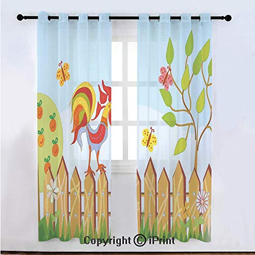 - Farm House Decor Semi Sheer Voile Window Curtain With Drapes Grommet,Border with Rooster Tree Butterfly and Flowers in Summer Kids Cartoon Print,for Bedroom,Living Room & Kids Room(108