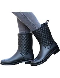 Womens Block Heel Rain Boots Fashion Rain Shoes