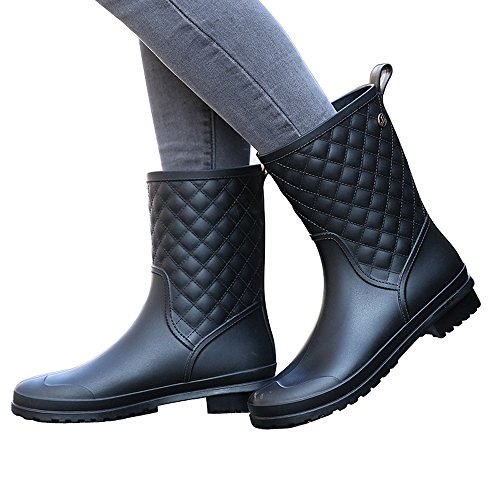 Magone Womens Block Heel Rain Boots Fashion Rain Shoes Black 8 by Magone