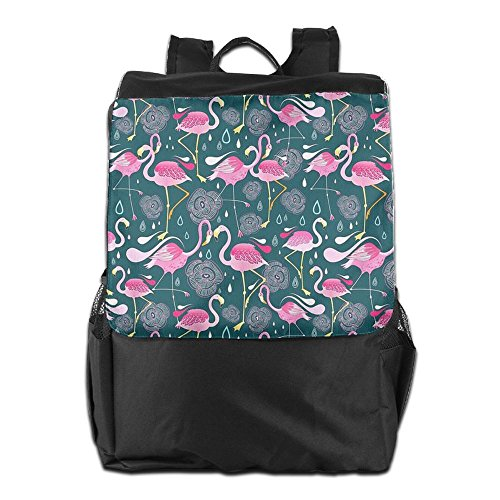 HSVCUY Personalized Outdoors Backpack,Travel/Camping/School-Pink Pretty Flamingos Adjustable Shoulder Strap Storage Dayback For Women And Men
