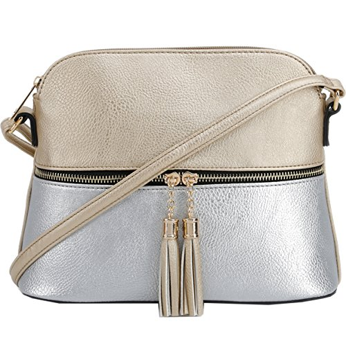 - DELUXITY Lightweight Medium Dome ColorBlock Crossbody Bag with Tassel and Zipper Pocket (Gold/Silver)