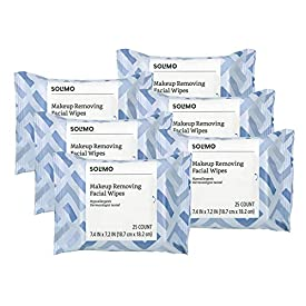 Amazon Brand – Solimo Makeup Removing Facial Wipes, 25 ct (Pack of 6)