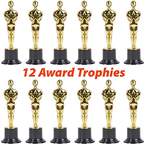 12 Plastic Trophies for Kids | Oscar Award Trophy Set of 6 Inch Statues | Bulk Movie Themed Party Supplies and Favors | Celebrations, Competitions, Classroom Prizes and Incentives, Props, Contests (Gold Trophy Figure)