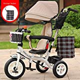 RZ-Melhor Multifunctional Children's Tricycle Baby Cart 1-6 Years Old Infant Child Bicycle Removable Boys and Girls Bike Multi-Color Cloth Awning (Color : White-J)