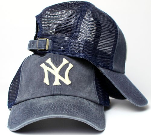 American Needle New York Yankees MLB Raglan Bones Soft Mesh Back Slouch Twill Cap Navy - American Series Ball Glove