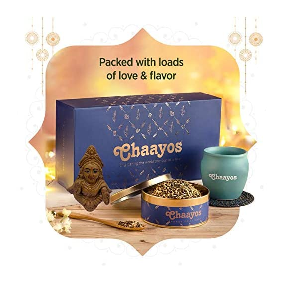 Chaayos Diwali Tea Gift Box | Perfect Festival Gift | Immunity Boosting Tea & Kulhad | Wellness Gift Hamper with Small God Durga Murti