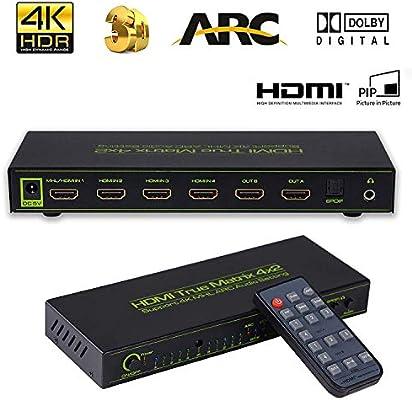 4K HDMI 4x2 Matrix Switcher Splitter w// Hifi Audio Extractor Converter Remote