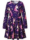 Perfashion Girl's Unicorn Dress Long Sleeve Swing Dresses for Kids with Pockets