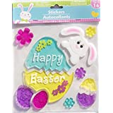 Happy Easter Eggs, Bunny, and Flowers Gel Window Clings - 11 Piece