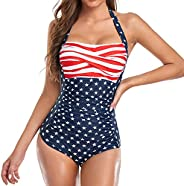Smismivo Tummy Control Swimwear Black Halter One Piece Swimsuit Ruched Padded Bathing Suits for Women Slimming