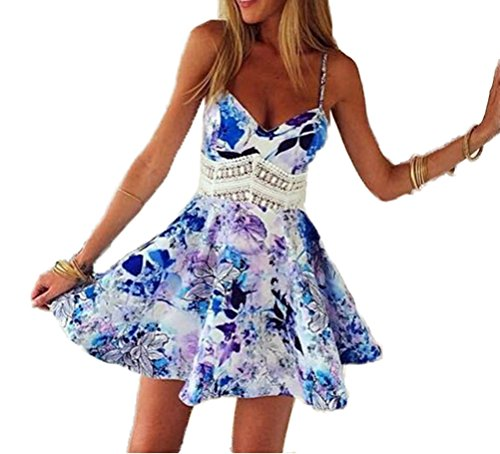 Sexy Dress For Teens (Memorose Women Sexy Straps V Neck Backless Hollow out Waist Skater Mini Dresses Small)