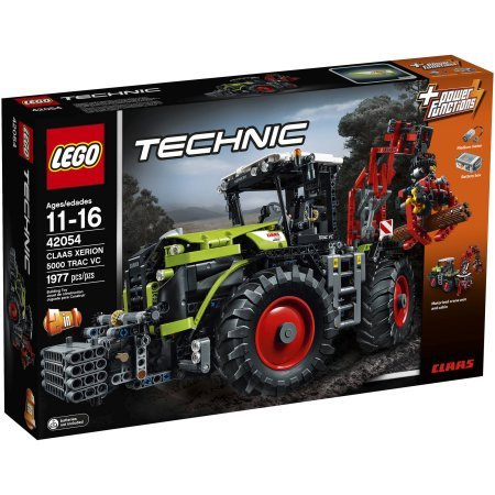 LEGO Technic 2-in-1 Model, Power Functions Motor, Automated Crane Arm, Extendable Outriggers, Rotating Cab, 4 Huge Tractor Tires, Working Crane Claw, Front-Wheel, 4-Wheel and Crab Steering, (Front Model Tractor)