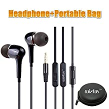 Wietus Headphone/earphone, 3.5mm Stereo In-ear Noise-isolating Headphones with Mic+ Portable Mini Round Hard Storage Case Bag, Built-in iPhone, iPods and iPads, Android Devices, mp3 players, CD players and more (CA 760Black)