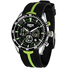 Time100 Men's Silicone Strap Quartz Watch Sample Fashion Multifunction Watches for Men/Boy (Green)