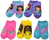Nickelodeon Little Girls' Dora and Friends 5 Pack Ankle Socks, Assorted, One Size/6/8.5