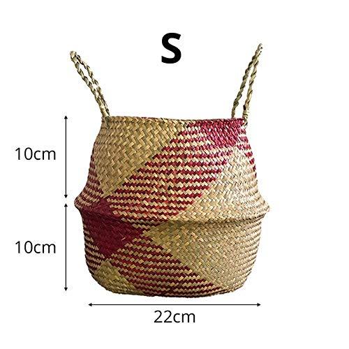 Best Quality - Storage Baskets - Nordic Foldable Handmade Storage Basket Patchwork Wicker Rattan Seagrass Belly Straw Garden Flower Pot Planter Laundry Basket - by - 1 PCs