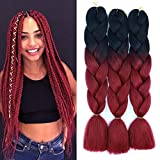 Ombre Color Synthetic Hair 3 packs Jumbo Braiding Hair Extension 24Inch 100gram Synthetic Two Tone High Temperature Crochet Braids (black and bug)