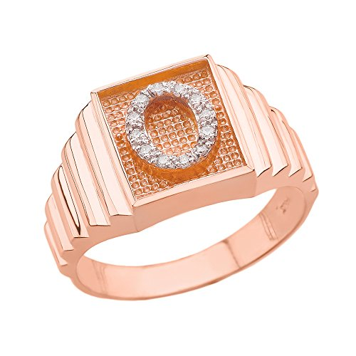 Men's 14k Rose Gold Layered Band Square Face Diamond Initial Letter O Ring (Size 13) ()