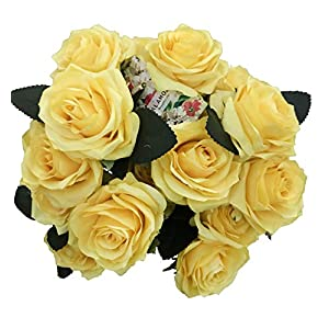 DALAMODA Light Yellow Artificial Silk Roses 2 Bundles (with Total 20 Heads) Artificial Silk Flower Rose DIY Wedding Bride Bouquet Any Craft