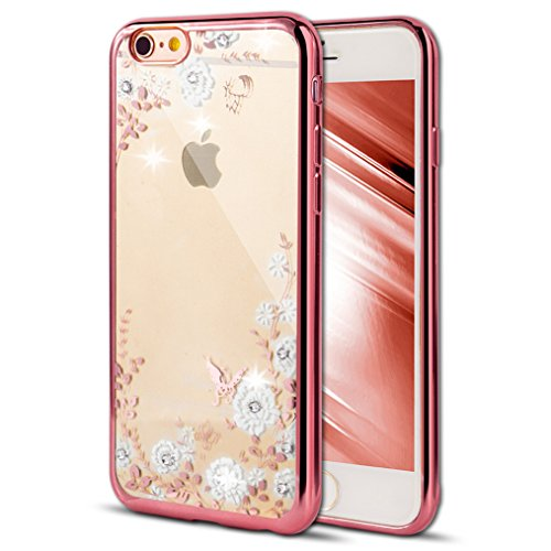 (Case for iPhone 5S iPhone SE Cover EMAXELER Bling Crystal Rhinestone iPhone SE Case Plating Frame Flexible TPU Case for iPhone 5/5S & iPhone SE [Rose] Butterfly & White Flowers)