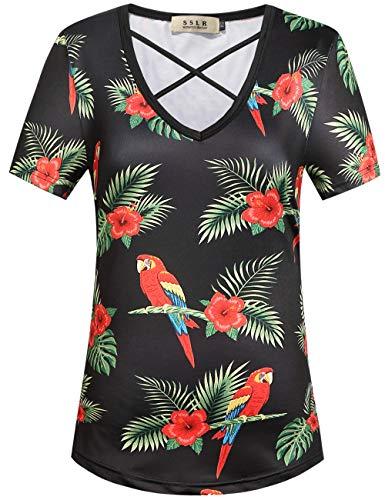 SSLR Women's Floral V Neck Casual Short Sleeve Hawaiian T Shirt Tops (Medium, Black Parrots) - Mia Print Blouse